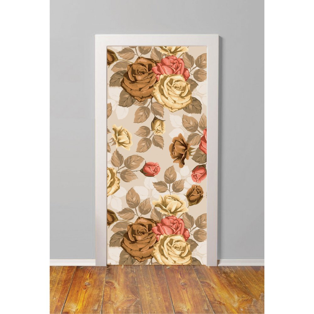 Αυτοκόλλητο πόρτας - Καφέ τριαντάφυλλα