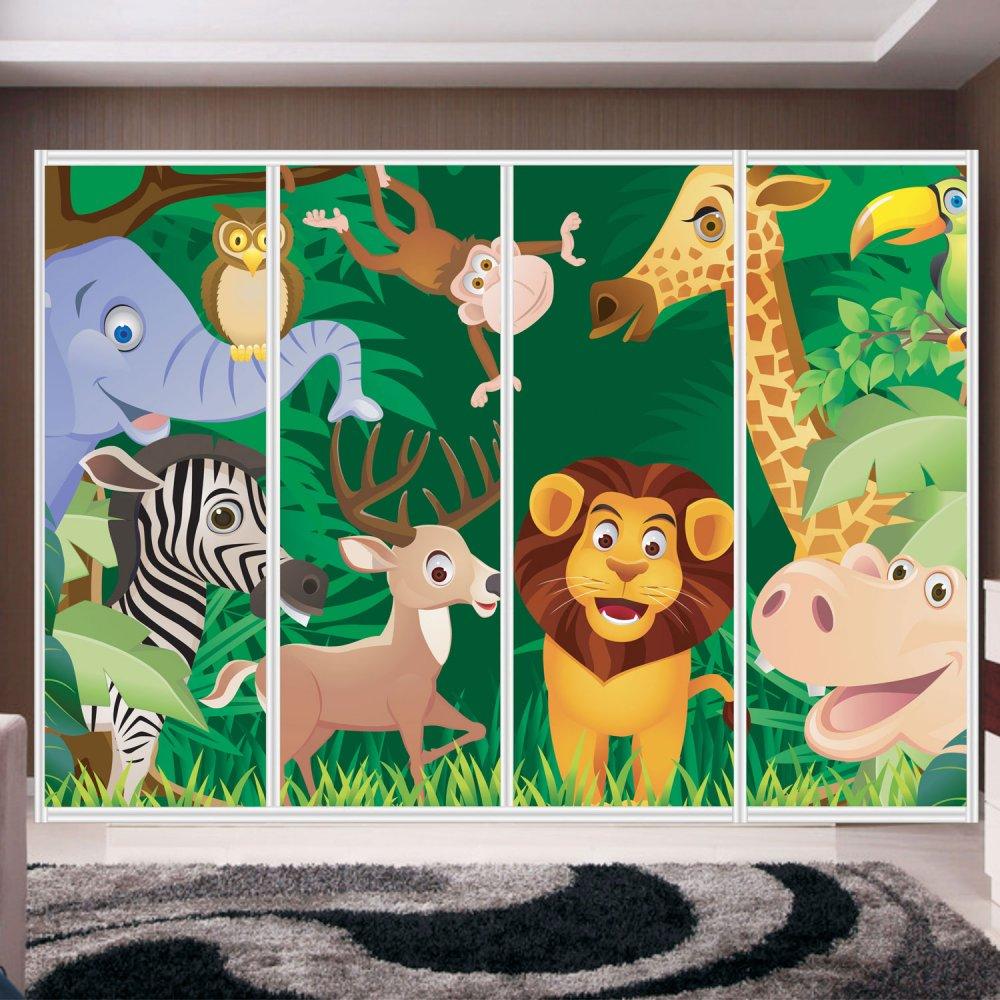 Αυτοκόλλητο ντουλάπας - Cartoon animals