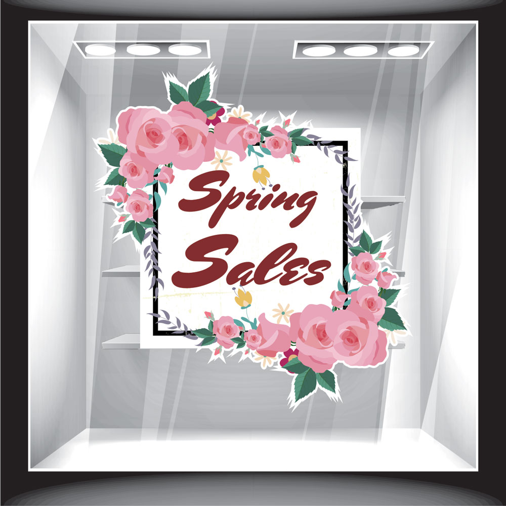 Αυτοκόλλητο βιτρίνας - Ανοιξιάτικο - Sales 08
