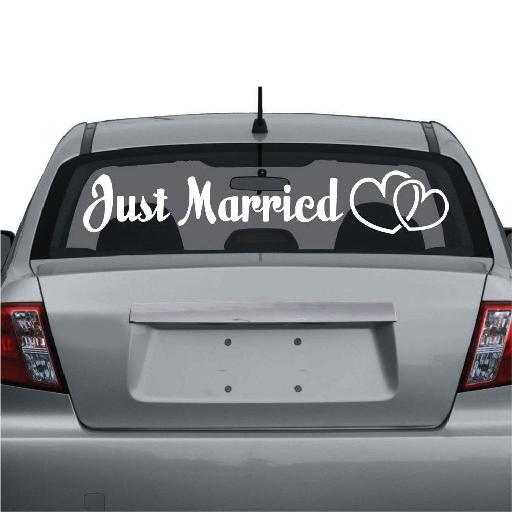 Διακόσμηση γάμου - Αυτοκόλλητο αυτοκινήτου just married 2