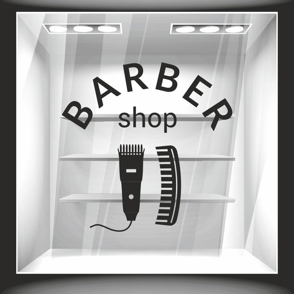 Αυτοκόλλητο βιτρίνας - Barber Shop 4
