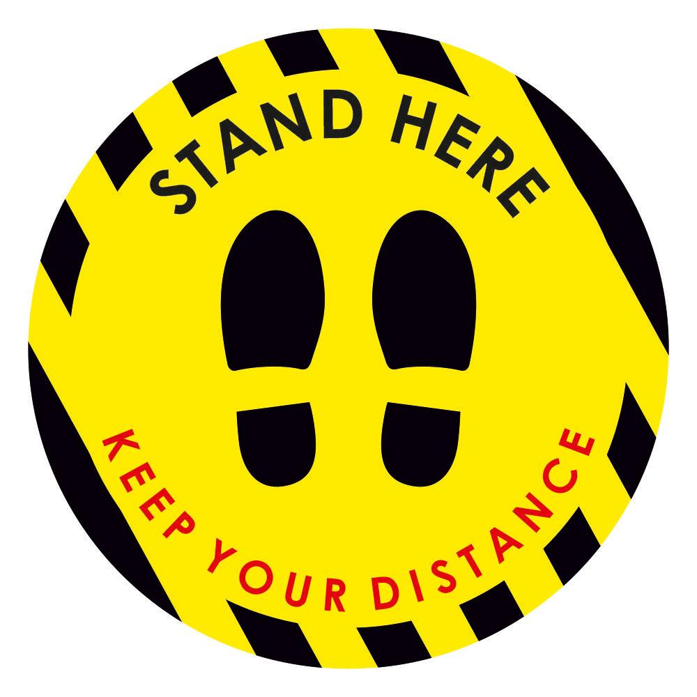 Αυτοκόλλητο δαπέδου σήμανσης - Stand Here