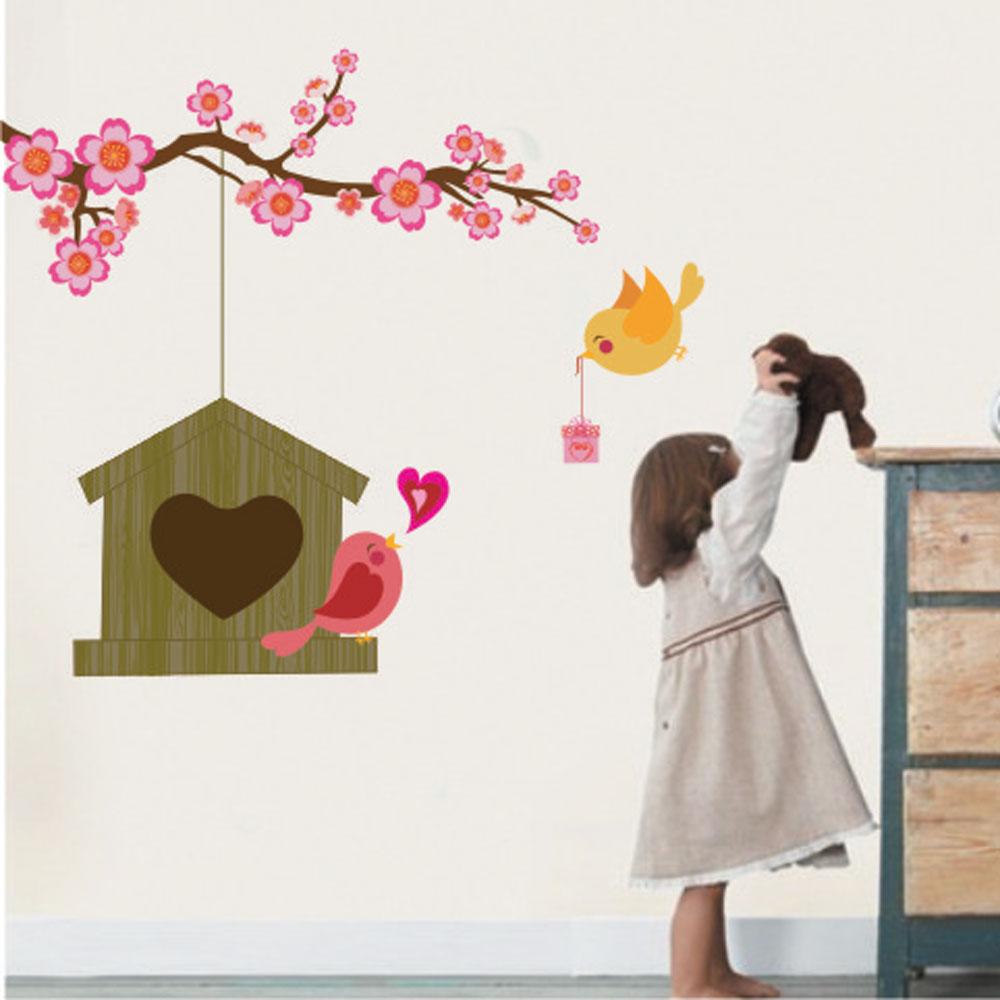 Αυτοκόλλητο τοίχου - Ερωτευμένα πουλιά