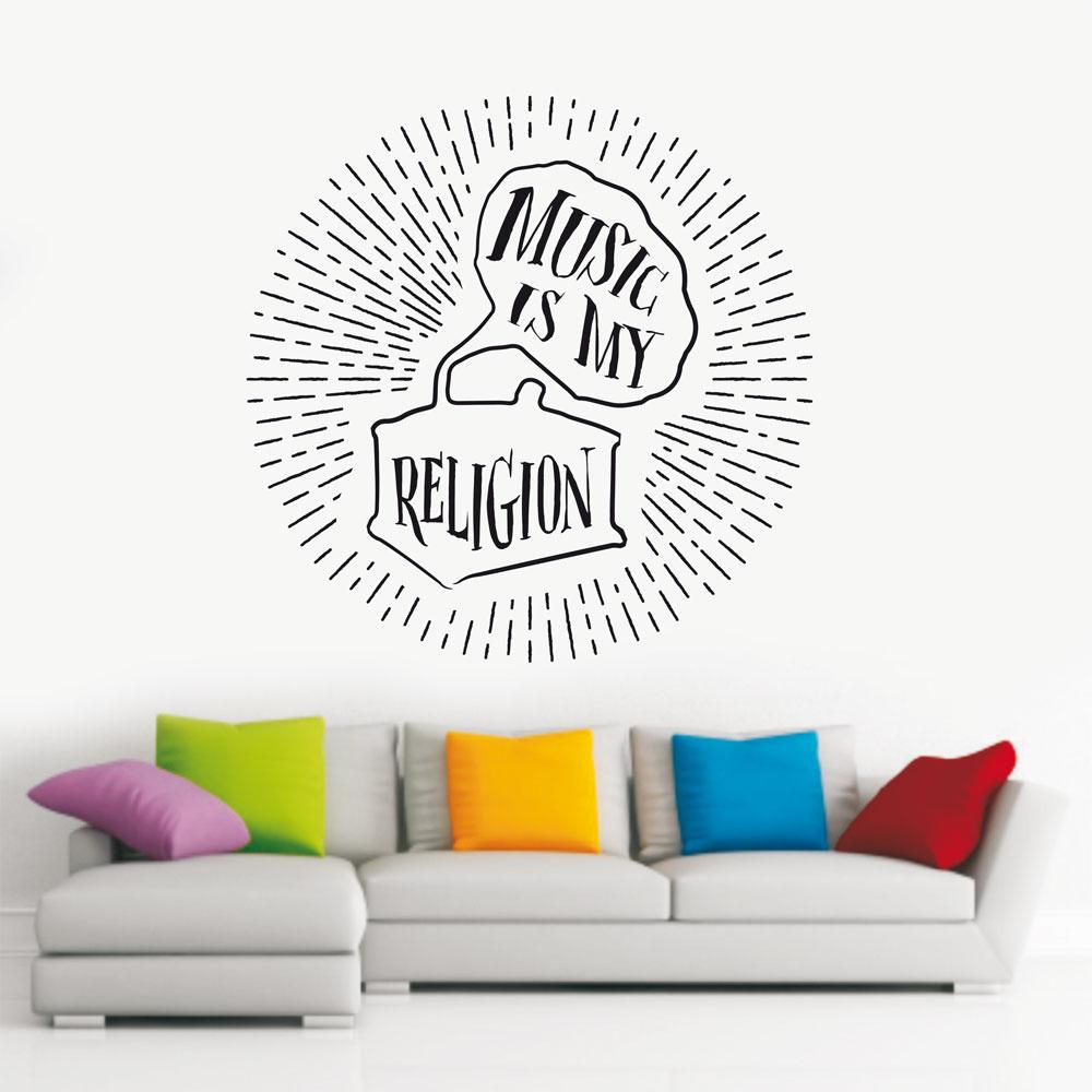 Αυτοκόλλητο Τοίχου - Music is my Religion