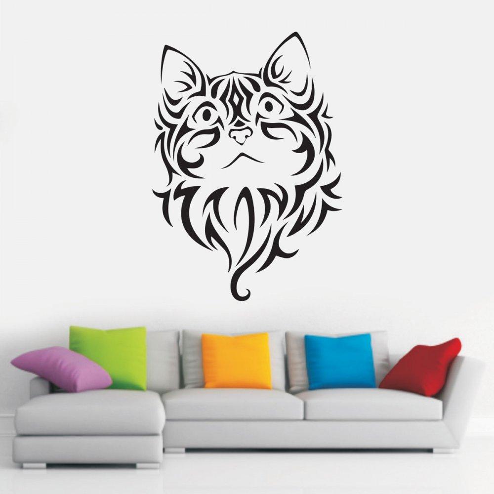Αυτοκόλλητο Τοίχου - Tribal cat