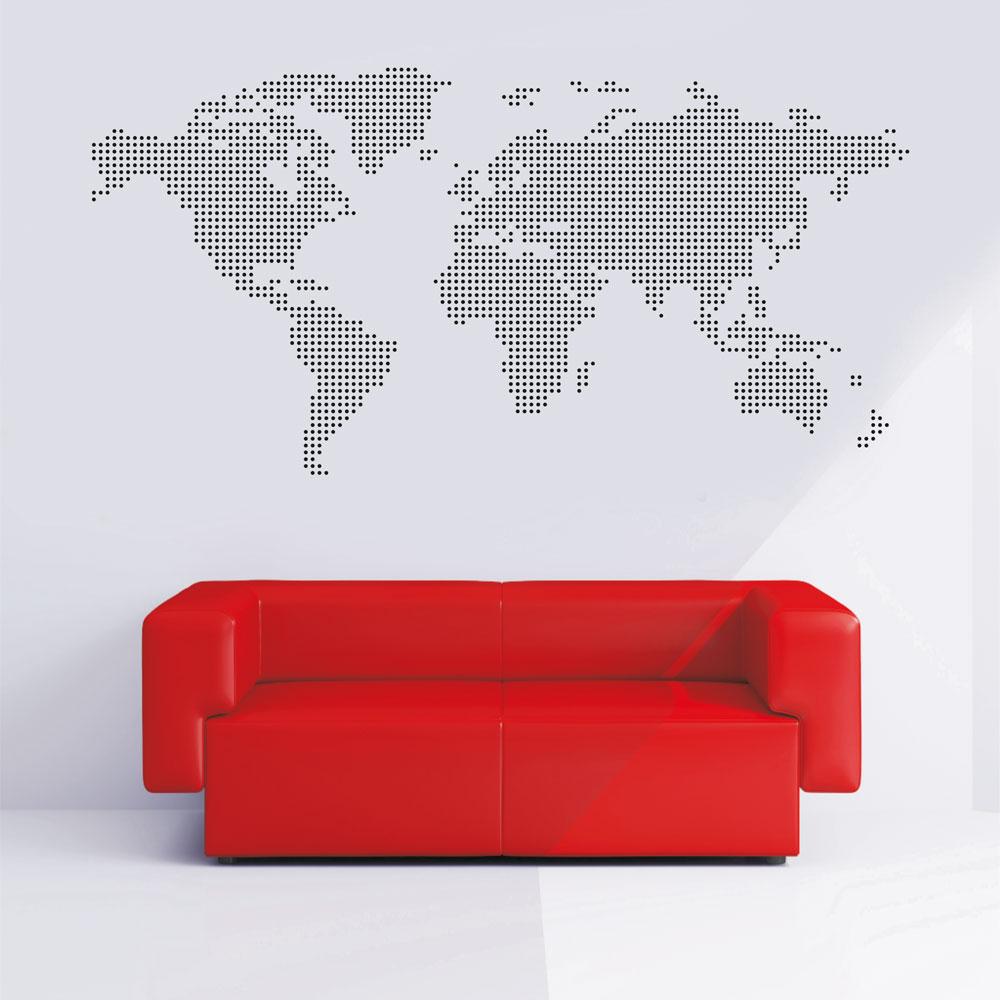Αυτοκόλλητο Τοίχου - Παγκόσμιος χάρτης τελείες