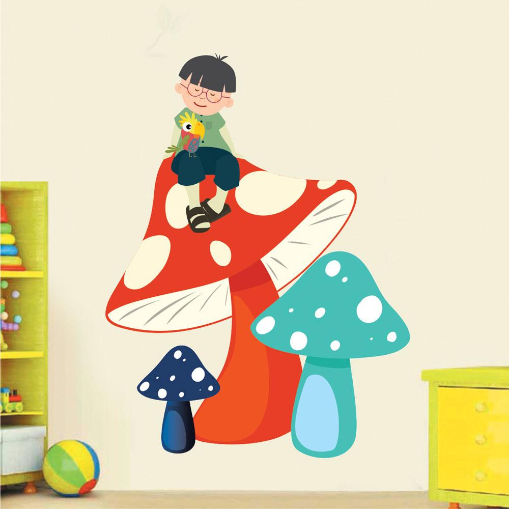 Παιδικό Αυτοκόλλητο Τοίχου - Μανιτάρια και Παιδάκι