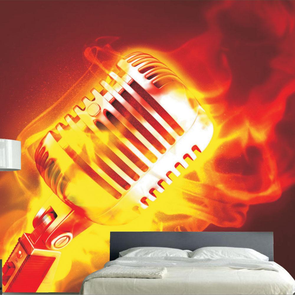 Αυτοκόλλητη Ταπετσαρία - Φλογισμένο μικρόφωνο