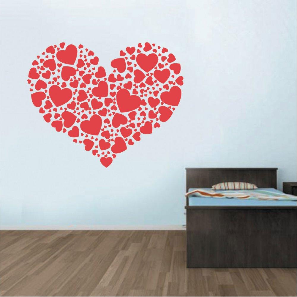 Αυτοκόλλητο Τοίχου - Καρδιά από καρδιές