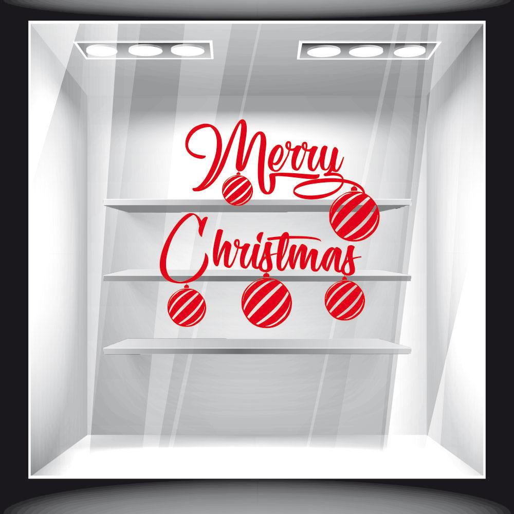 Χριστουγεννιάτικο Αυτοκόλλητο - Merry Christmas Balls